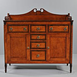 Federal Tiger Maple and Bird's-eye Maple and Mahogany Veneer Sideboard